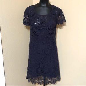Johnny Was 4LoveandLiberty Navy Blue Crochet Dress